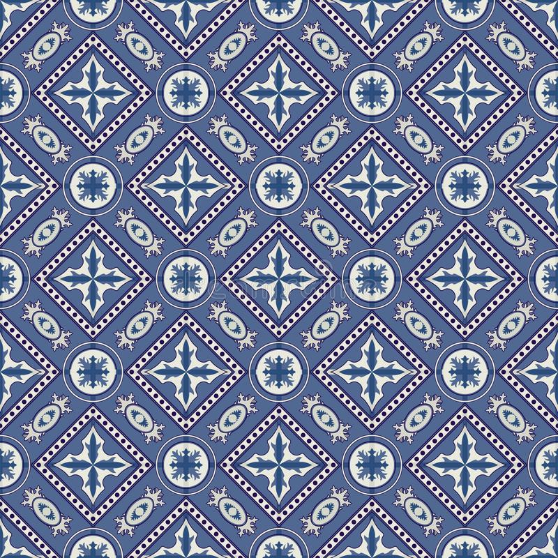 Herrliches nahtloses Patchworkmuster von den dunkelblauen und weißen marokkanischen, portugiesischen Fliesen, Azulejo, Verzierung lizenzfreie abbildung