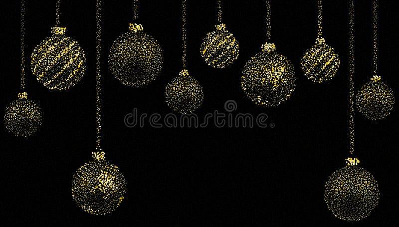 Herrliches Weihnachten, Weihnachtstapete mit den Bällen gebildet vom goldenen Staub auf einem schwarzen Hintergrund Auch im corel vektor abbildung