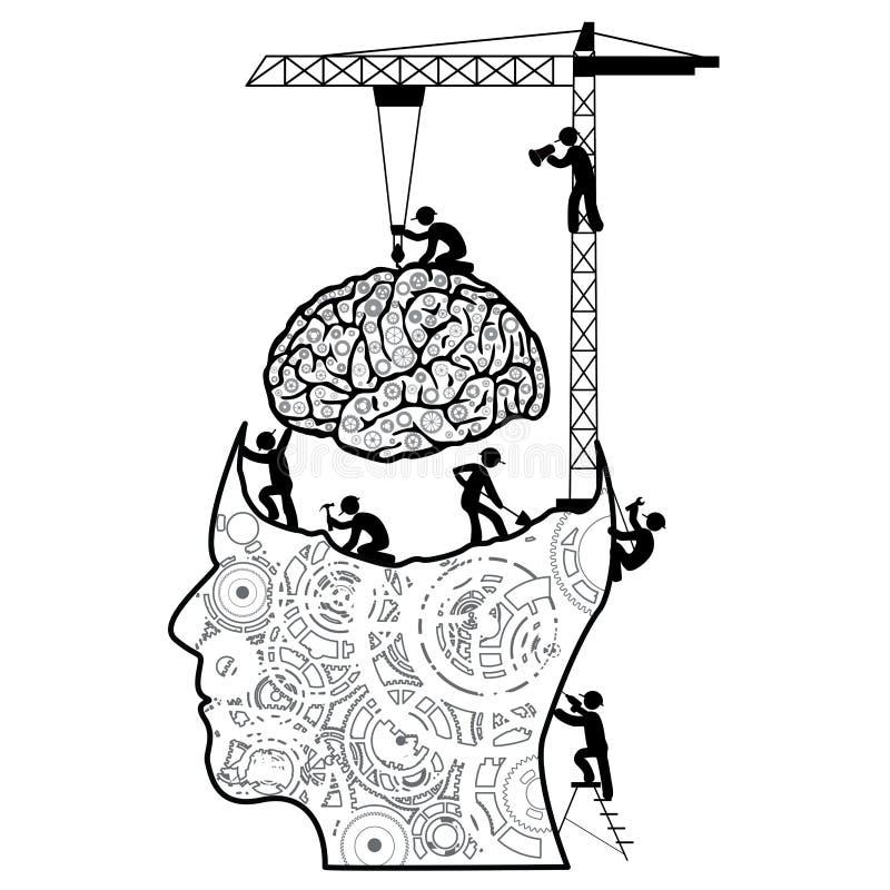 Hersenen in aanbouw concept royalty-vrije illustratie