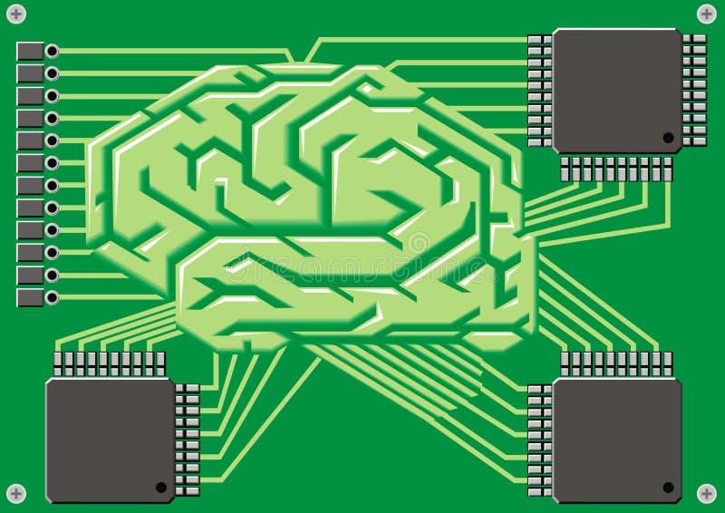 Hersenen als motherboard royalty-vrije illustratie