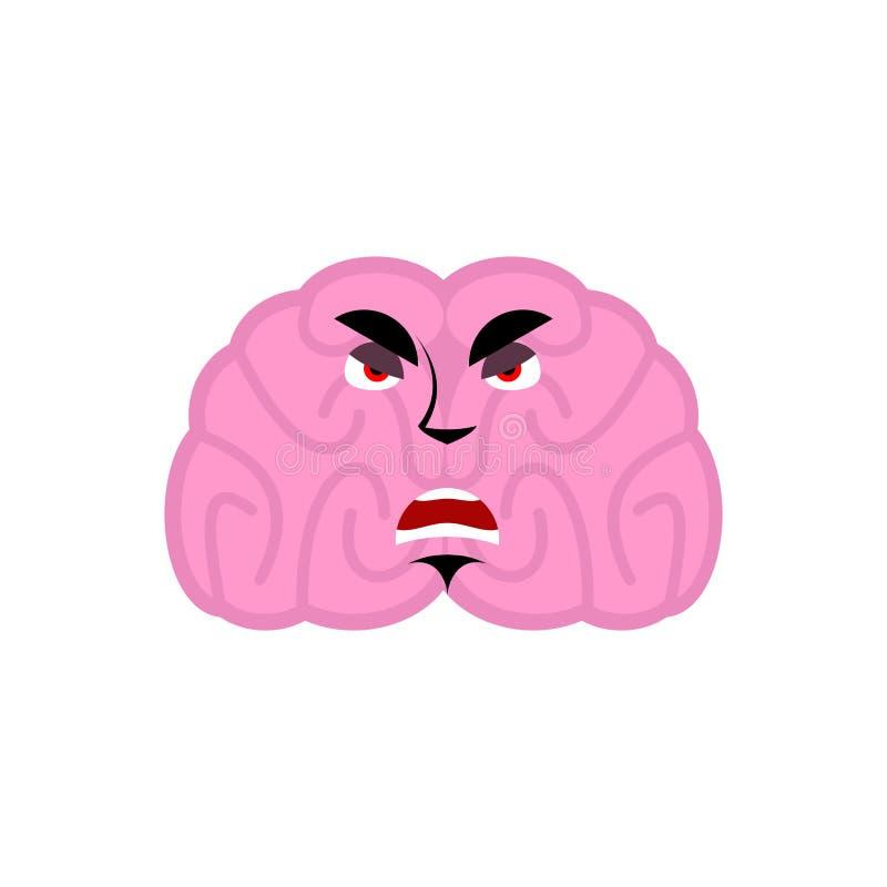 Hersenen boze emotie Het menselijke kwaad van hersenenemoji Geïsoleerde Mening stock illustratie