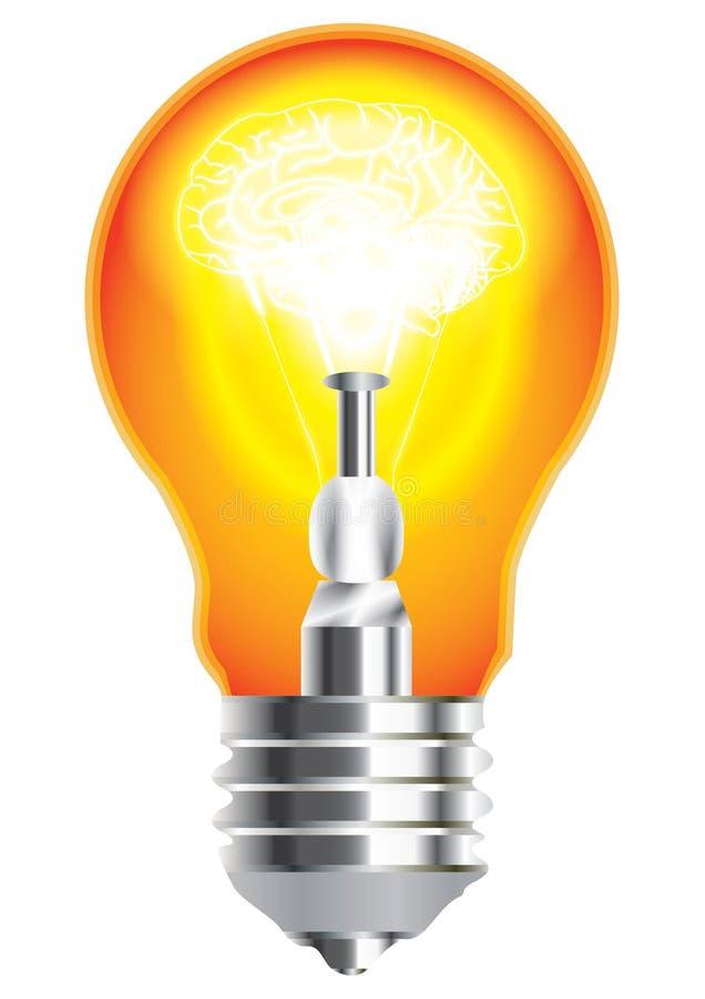 Hersenen in Bulb_eps royalty-vrije illustratie