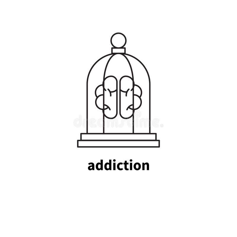 Hersenen in cel, verslaving stock illustratie