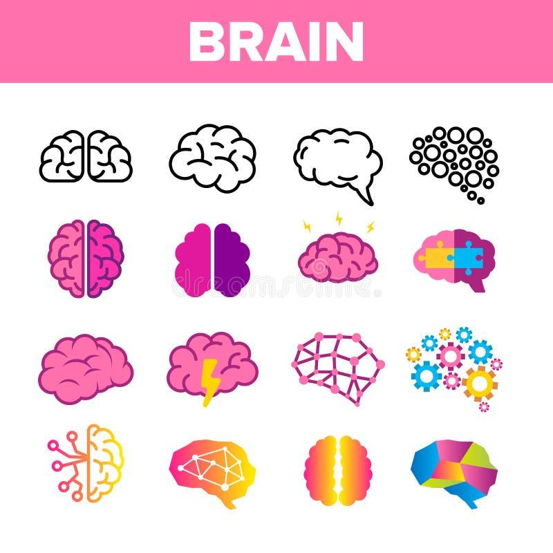 Hersenen, de Vector Lineaire Geplaatste Pictogrammen van het Neurologieorgaan vector illustratie