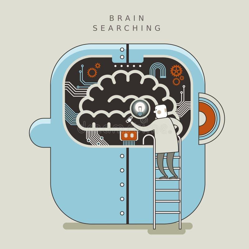Hersenen die conceptenillustratie zoeken stock illustratie