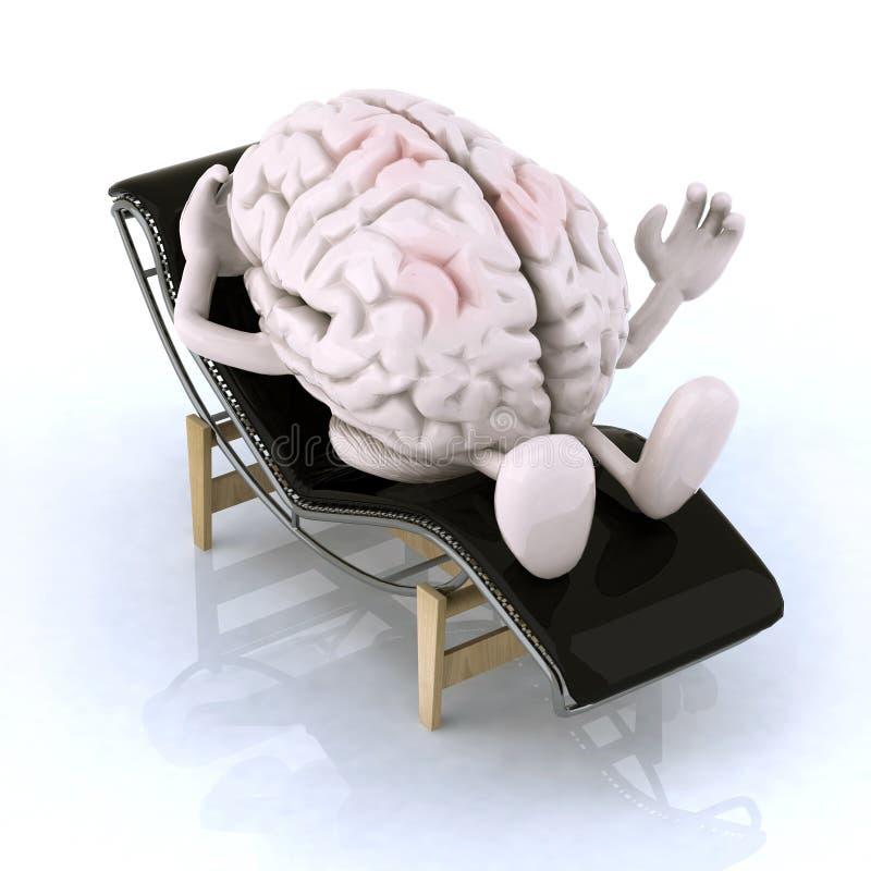 Hersenen die op een chaise-longue rusten royalty-vrije illustratie