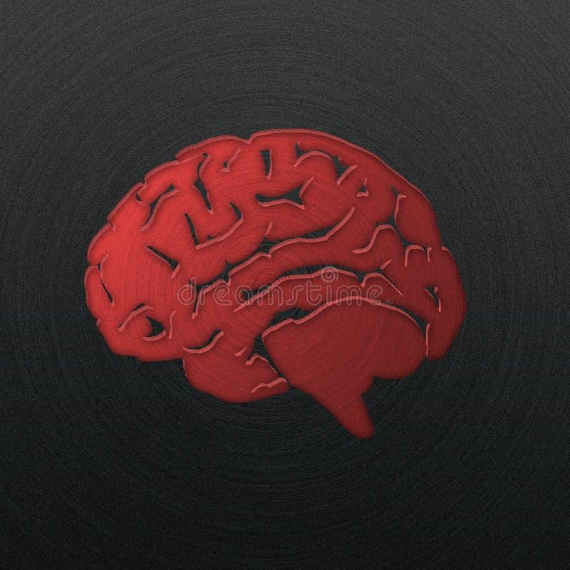 Hersenen, die in opgepoetst metaal worden gestempeld royalty-vrije stock afbeeldingen