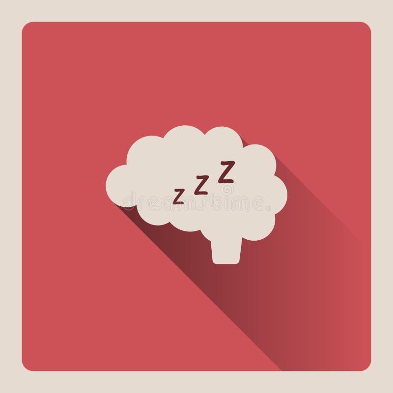 Hersenen die in slaapillustratie denken op rode achtergrond met schaduw vector illustratie