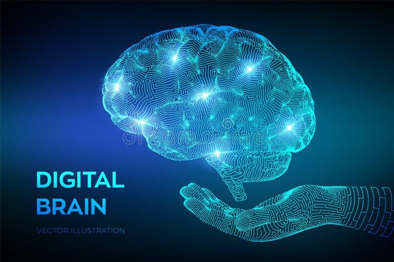 hersenen Digitale hersenen ter beschikking 3D Wetenschap en Technologieconcept Neuraal netwerk IQ het testen, virtuele kunstmatig vector illustratie