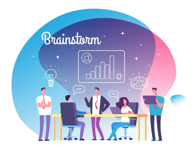 Hersenen en flitsen Mensen die op workshop samenkomen Bedrijfssucces, team op opstarten denken en brainstormingsvector die vector illustratie