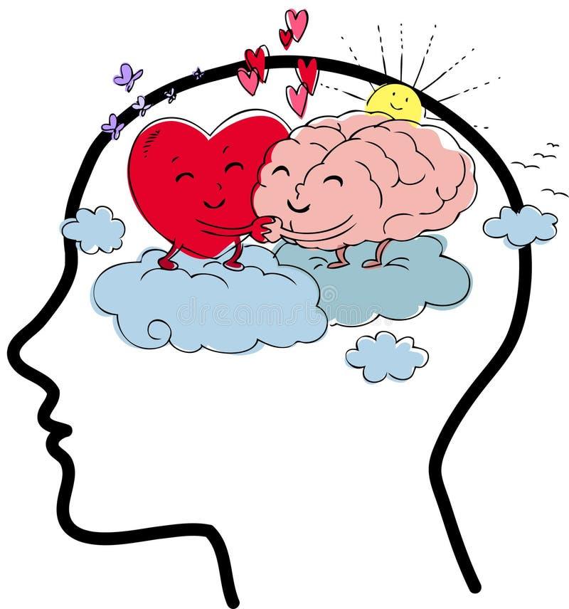 Hersenen en hart de vector van het saldoconcept stock illustratie
