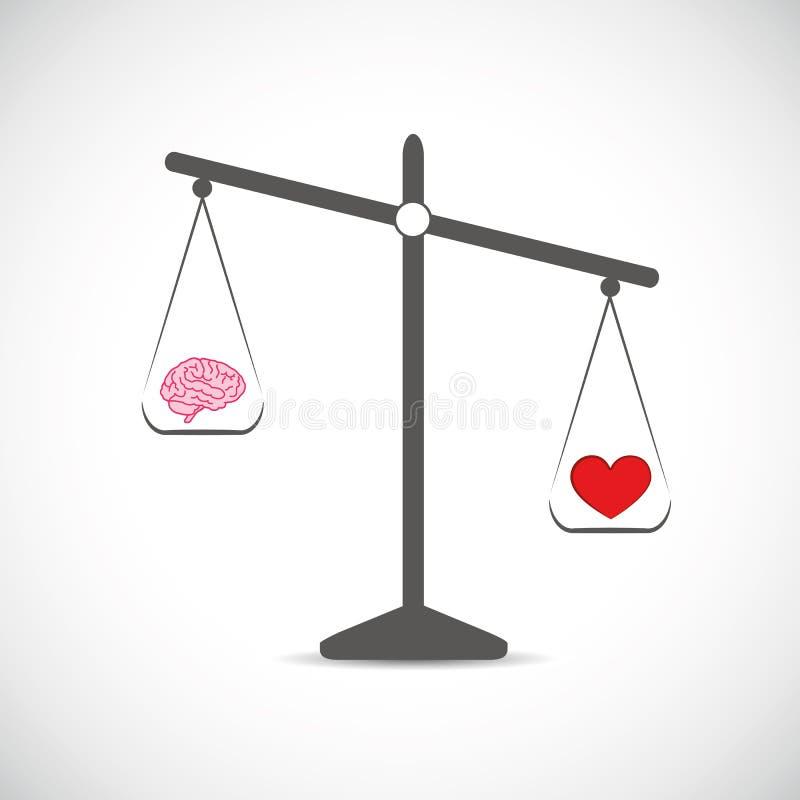 Hersenen en rode haard in evenwicht royalty-vrije illustratie