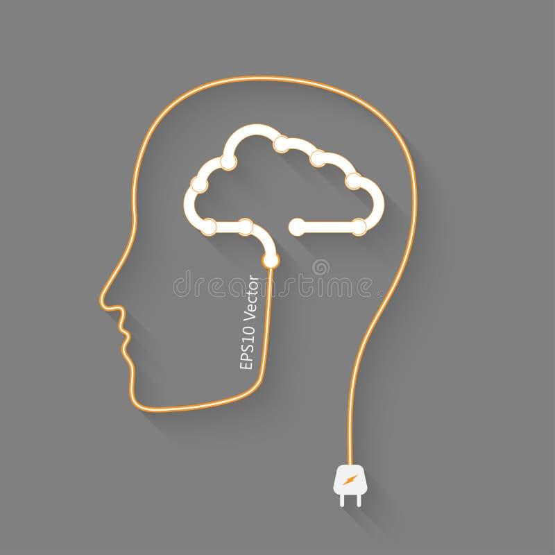 Hersenen en wolk vector illustratie