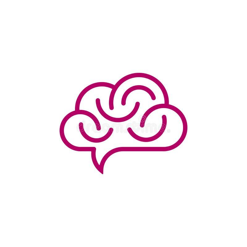 Hersenen en wolk gevormde toespraakbel vector illustratie