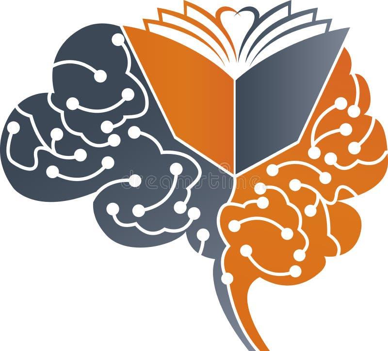 Hersenen gediplomeerd embleem stock illustratie