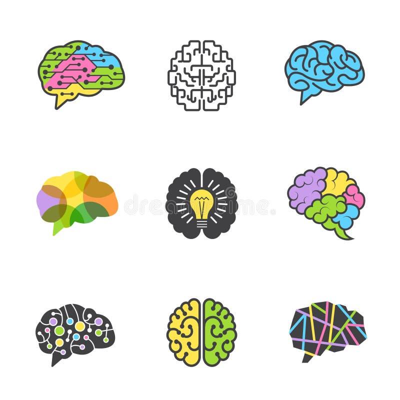 Hersenen gekleurde symbolen Creatief van het ideehersenen van het meningsgenie slim vector de beeldenontwerp voor zaken logotypes vector illustratie