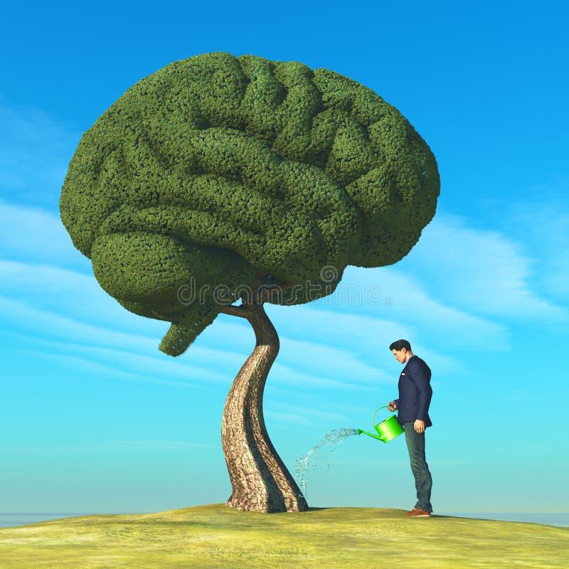 Hersenen gevormde boom stock illustratie