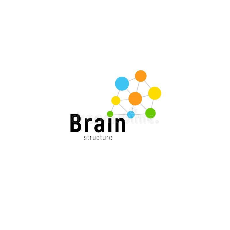 Hersenen het stormen bedrijfsvector geïsoleerd embleemmalplaatje Kleurrijke creatieve menings logotype verbonden punten Eenvoudig stock illustratie