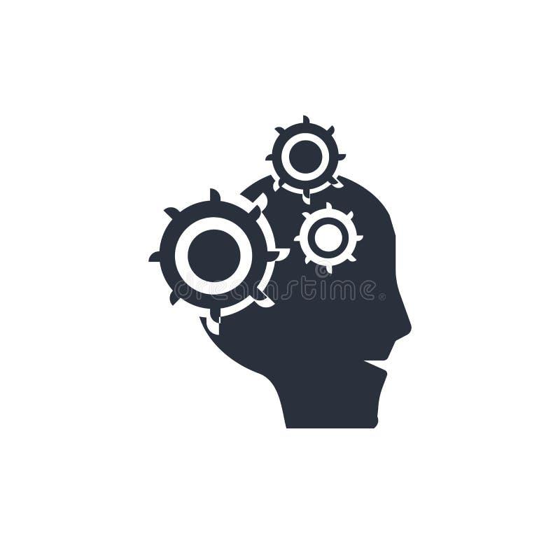 Hersenen in kaal mannelijk hoofdpictogram vectordieteken en symbool op witte achtergrond, Hersenen in kaal mannelijk hoofdembleem stock illustratie