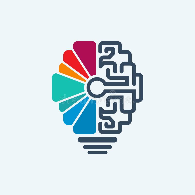 Hersenen & lampembleem vectorontwerp stock foto
