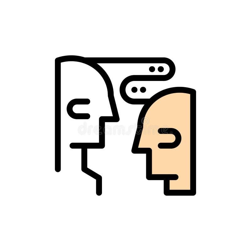 Hersenen, Mededeling, Mens, Pictogram van de Interactie het Vlakke Kleur Het vectormalplaatje van de pictogrambanner royalty-vrije illustratie