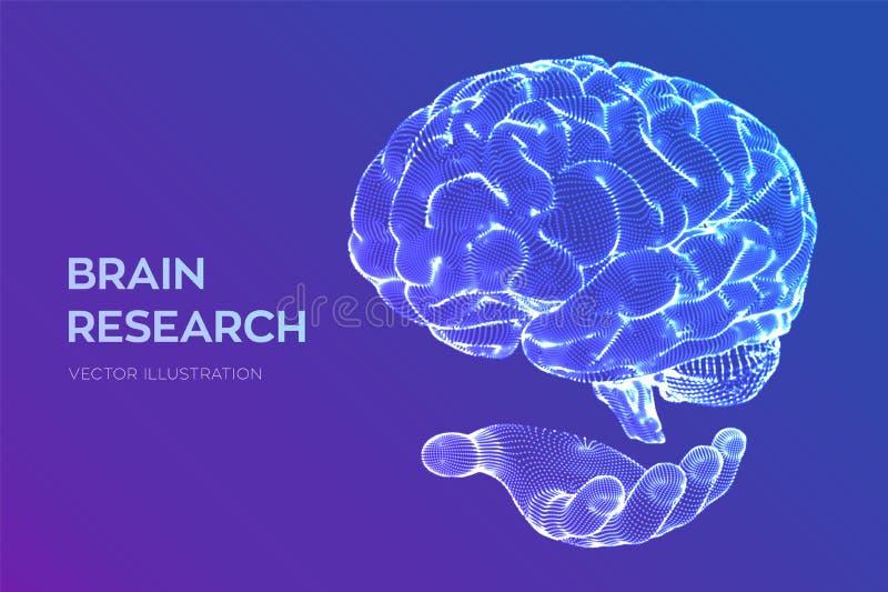hersenen Menselijk hersenenonderzoek 3D Wetenschap en Technologieconcept Neuraal netwerk IQ het testen, virtuele kunstmatige inte vector illustratie