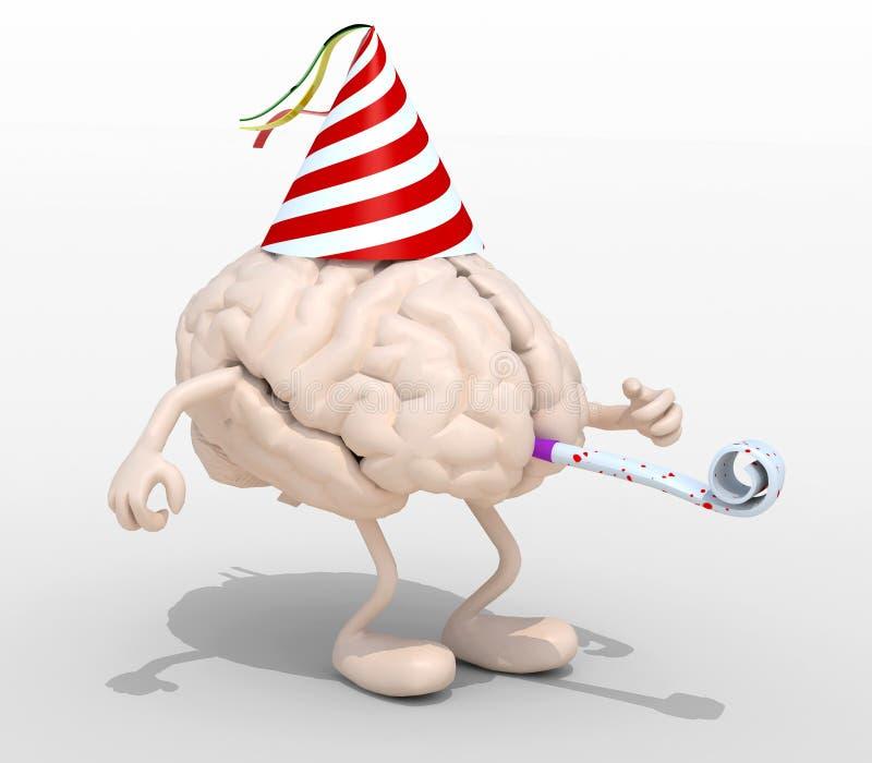 Hersenen met armen, benen, partij GLB en ventilators royalty-vrije illustratie