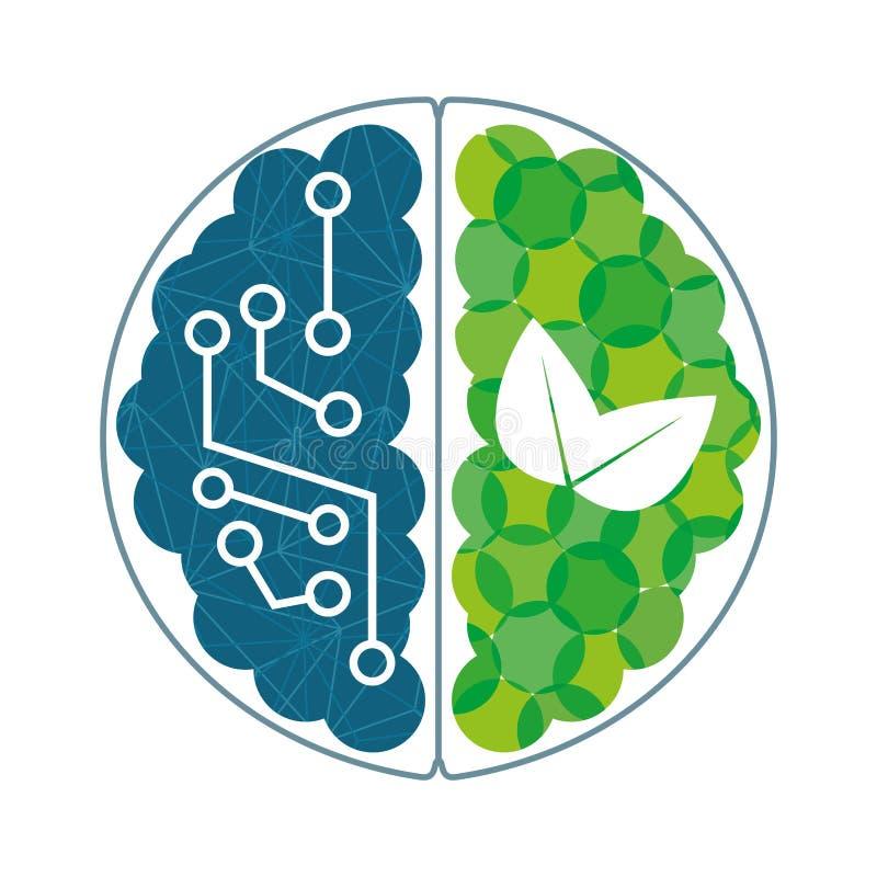 Hersenen met blauwe kringen en groene installaties stock illustratie