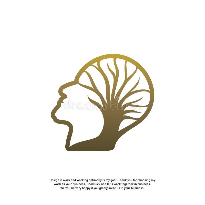 Hersenen met Boom Logo Design Concept, Mensenhoofd met Boomembleem - Vectorillustratie - Vector stock illustratie