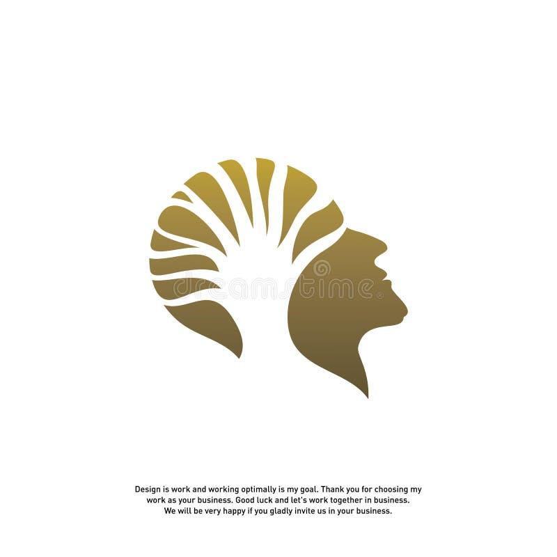 Hersenen met Boom Logo Design Concept, Mensenhoofd met Boomembleem - Vectorillustratie - Vector vector illustratie