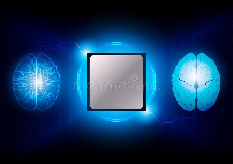 Hersenen met de achtergrond van de kringstechnologie Digitaal Concept illus royalty-vrije illustratie