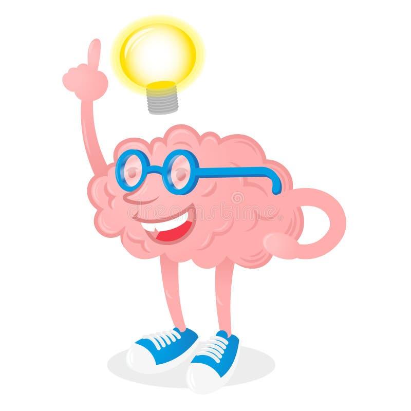 Hersenen met goed idee stock illustratie