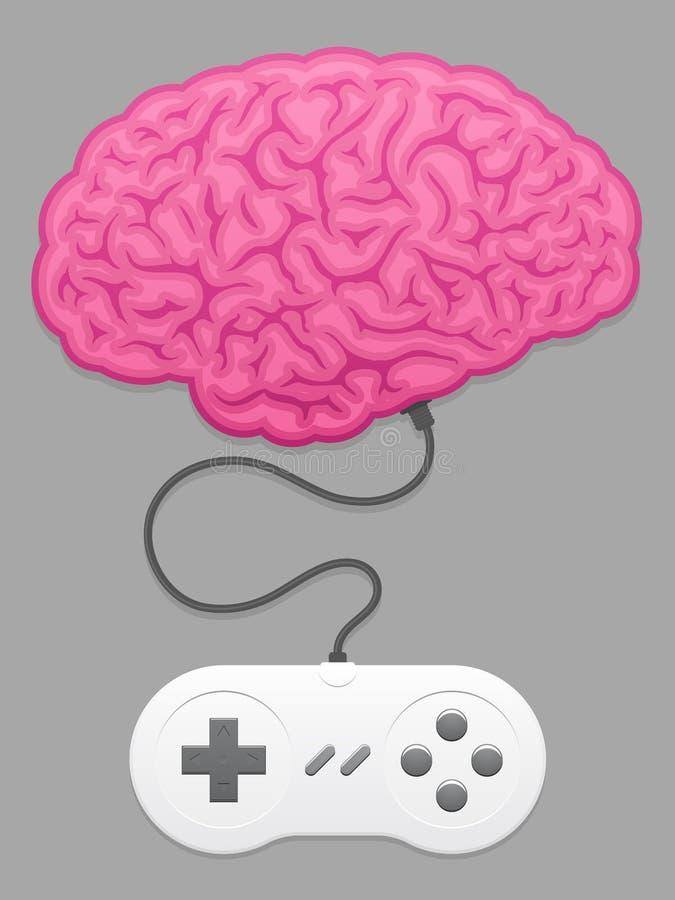 Hersenen met het stootkussen van het computerspel vector illustratie