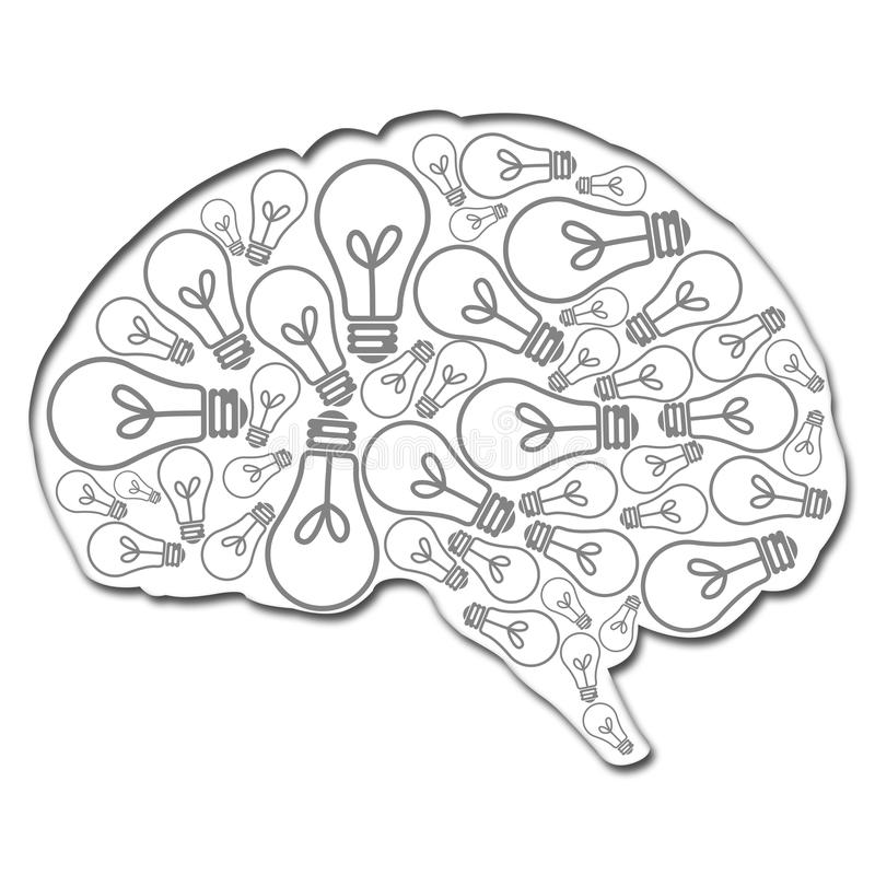 Hersenen met ideeën worden gevuld dat vector illustratie