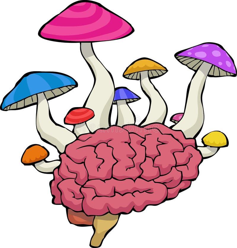 Hersenen met paddestoelen vector illustratie