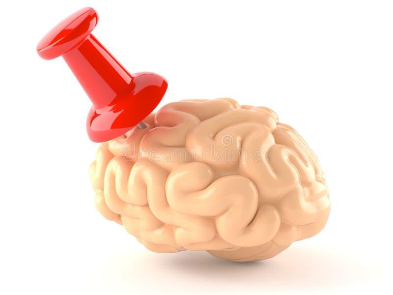 Hersenen met punaise vector illustratie