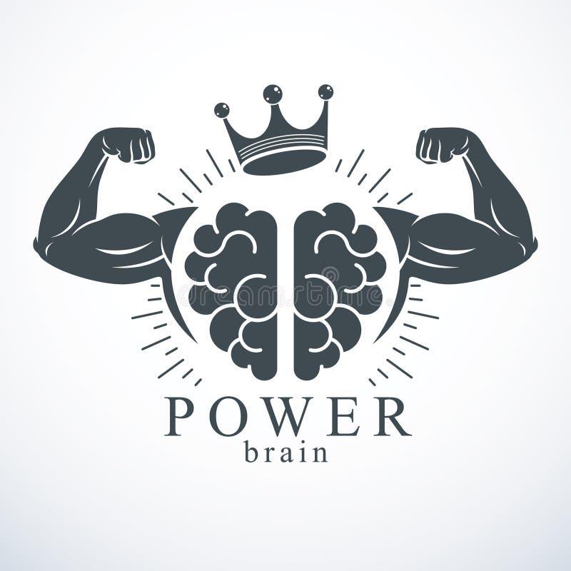 Hersenen met sterke bicephanden van bodybuilder Het embleem van machtshersenen, genieconcept royalty-vrije illustratie
