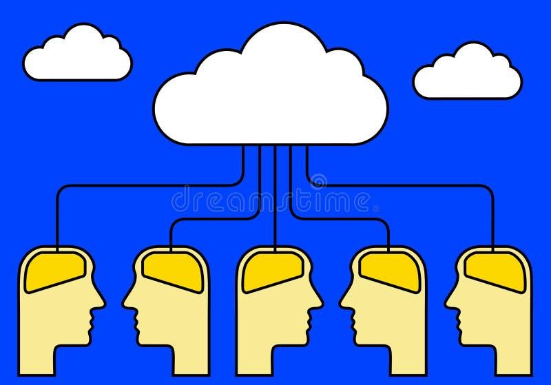 Hersenen met wolk worden verbonden die royalty-vrije illustratie
