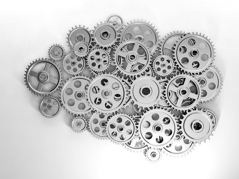 Hersenen in toestel dat van gen wordt gemaakt stock illustratie