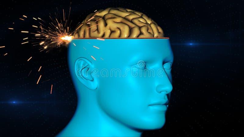 Hersenenaftasten stock illustratie