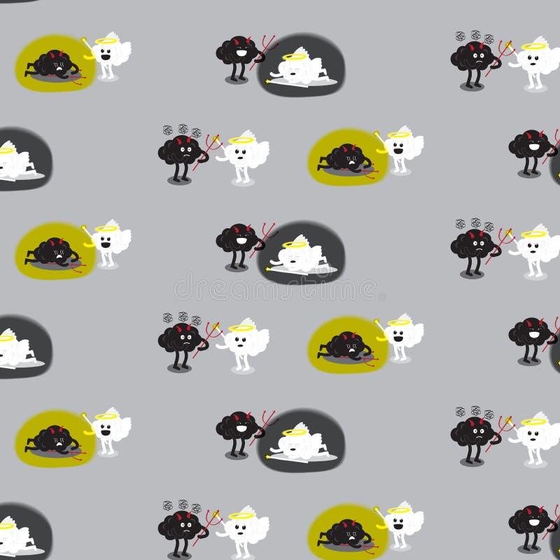 Hersenenengel en hersenenduivel het vechten patroonachtergrond stock illustratie