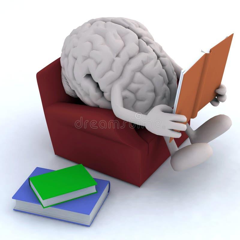 Hersenenorgaan die een boek van de laag lezen stock illustratie