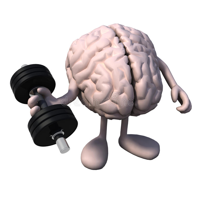 Hersenenorgaan met armen en benengewichtheffen stock illustratie