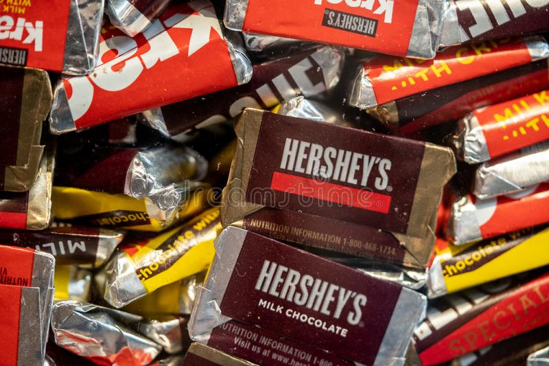 Hershey Miniature Assorted Candy Bars stock photos