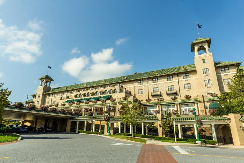 Hershey, PA / United States - Oct. 15, 2017: Landscape image of the entrance to the historic Hershey Hotel. Hershey, PA / United States - Oct. 15, 2017 royalty free stock photography
