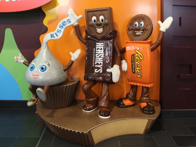Hershey`s Chocolate World Mascot Sculpture stock image