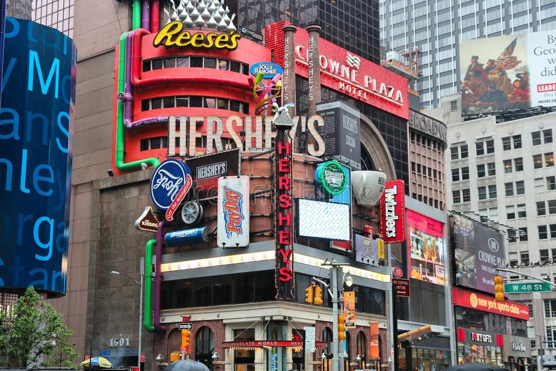 Hershey's Times Square. NEW YORK, USA - JUNE 10, 2013: Famous Hershey's ad at Times Square in New York. Hershey Company is a chocolate manufacturer founded in stock images