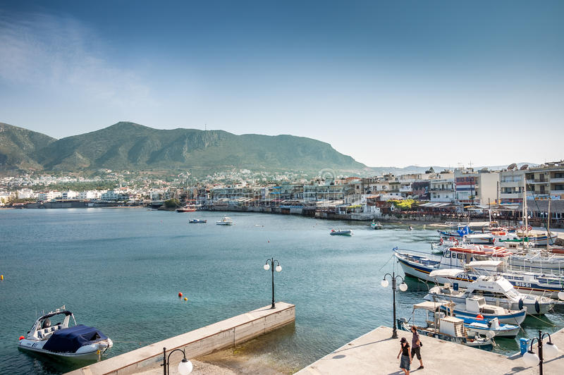 Hersonissos harbor and city stock images