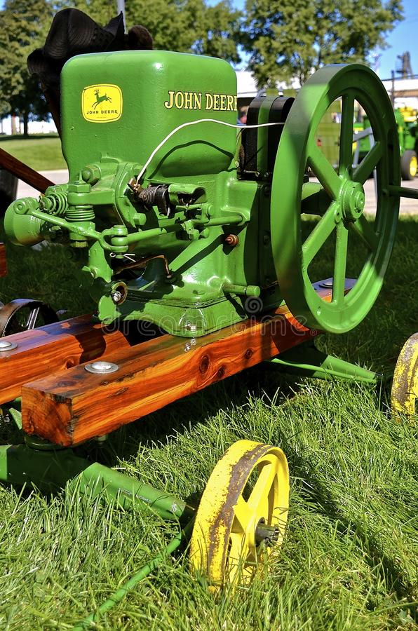 Herstelde antieke John Deere-gasmotor stock fotografie