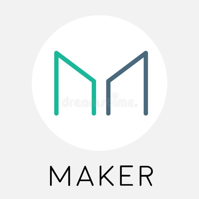 Hersteller MKR cryptocurrency Münzenlogo - blockchain Vektor vektor abbildung